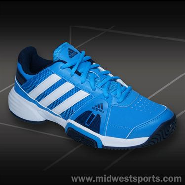 adidas Barricade Team 3 Junior Tennis Shoe-Solar Blue/White/Navy, M25390