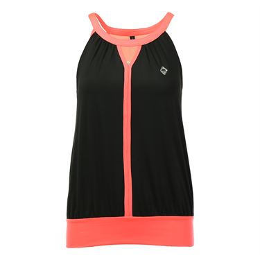 Adedge Loose Fit Keyhole Tank - Black/Neon Coral