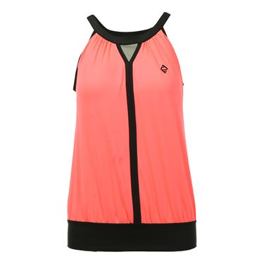 Adedge Loose Fit Keyhole Tank - Neon Coral/Black
