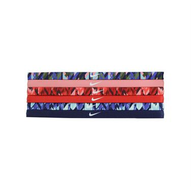 Nike Printed Headbands Assorted 6 Pack - Binary Blue/Bright Melon/University Red