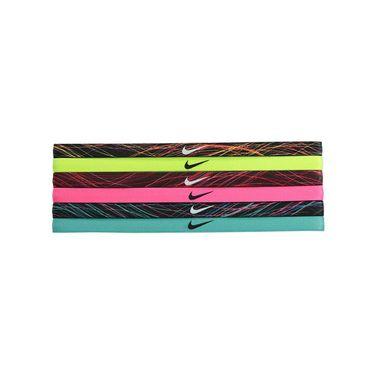 Nike Printed Headband Assorted 6 Pack - Black/Volt/Night Maroon