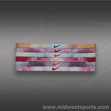 Nike Printed Headband Assorted 6 Pack-Atomic Mango/Purple Venom NJN65 972OS