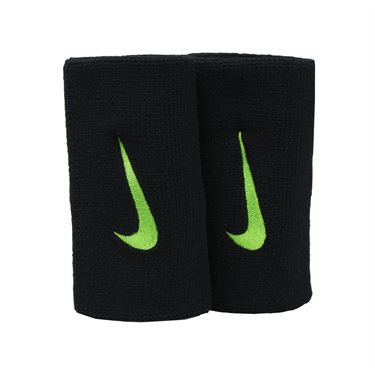 Nike Tennis Premier Doublewide Wristbands - Black/Ghost Green