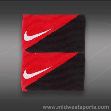 Nike Diagonal Double Wide Wristbands-University Red/Black/White