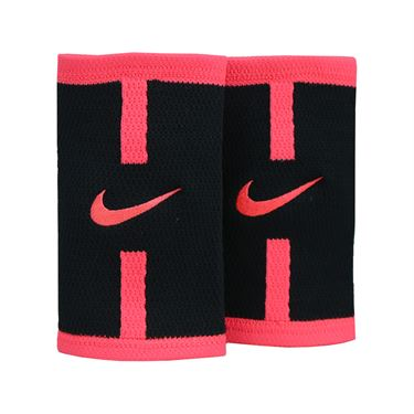 Nike Court Logo Doublewide Wristbands - Black/Hot Pink