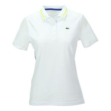 Lacoste Technical Short Sleeve Mesh Polo-White/Royal Blue