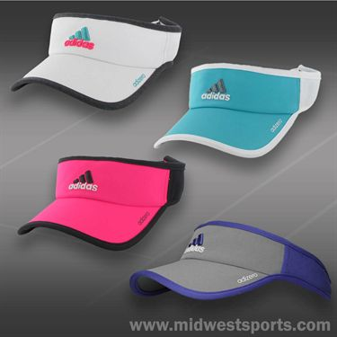 adidas Womens adizero II Visor-White/Heather Grey/Solar Pink/Vivid Mint