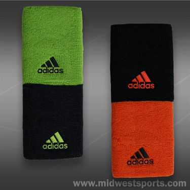 adidas Tennis Wristband Doublewide-Black/Solar Red