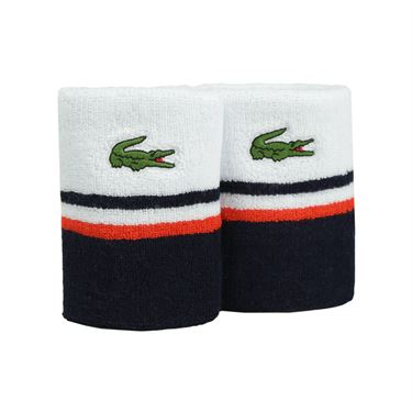 Lacoste Sport Stripe Wristband - White/Navy Blue
