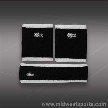 Lacoste Wristband/Headband Set-Black/White