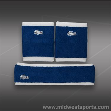 Lacoste Wristband/Headband Set-Blue/White