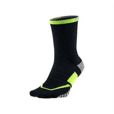 Nike Grip Elite Crew Tennis Sock - Black/Volt