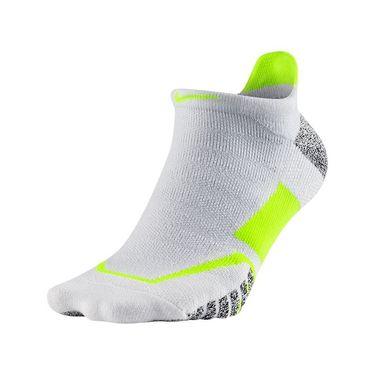 Nike Grip Elite No Show Tennis Sock - White/Volt