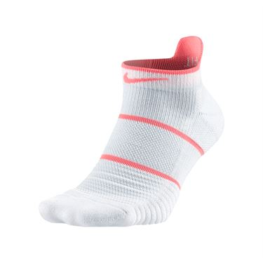 Nike Court Essentials No Show Tennis Sock - White/Lava Glow