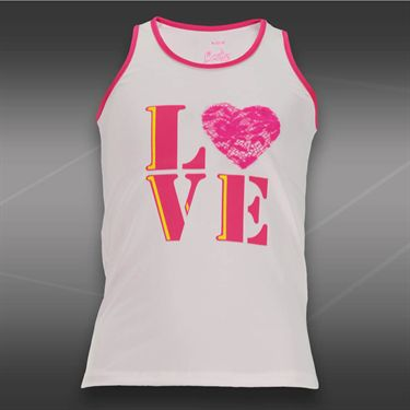 Lucky in Love Girls Love Lace Tank- Shocking Pink