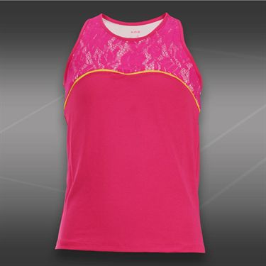 Lucky in Love Girls Love Pink Racerback Lace Tank- Shocking Pink