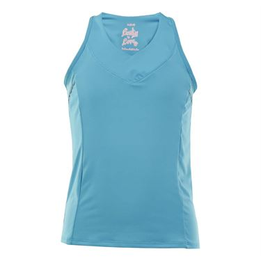 Lucky in Love Girls Core V Neck Racerback Tank - Ocean Blue