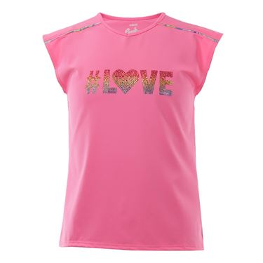 Lucky in Love Girls Tie Dye Cap Sleeve Top - Pink