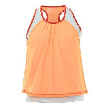 Lucky in Love Girls Mini Leopard Mesh Layer Crop - White/Neon Orange/Crimson
