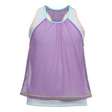 Lucky in Love Girls Mesh Crop Tank - Orchid