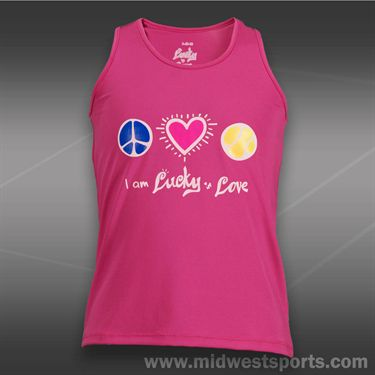 Lucky in Love Girls Peace Love Tennis Tank-Pink