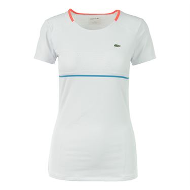 Lacoste Short Sleeve Technical Top - White/Fluo Energy/Oceanie