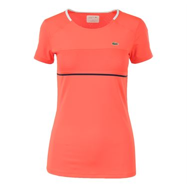Lacoste Short Sleeve Technical Top - Fluo Energy/White/Navy