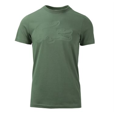 Lacoste Tech Jersey Embossed Tonal Croc T Shirt - Army Green