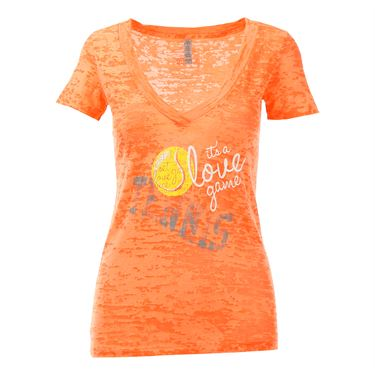 Love All Its A Love Game Burnout Tee - Neon Orange
