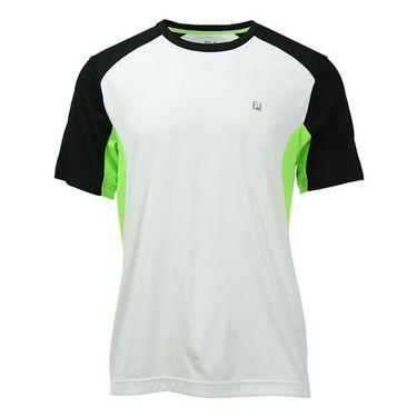 Fila Alpha Color Blocked Crew - White/Black/Bright Lime