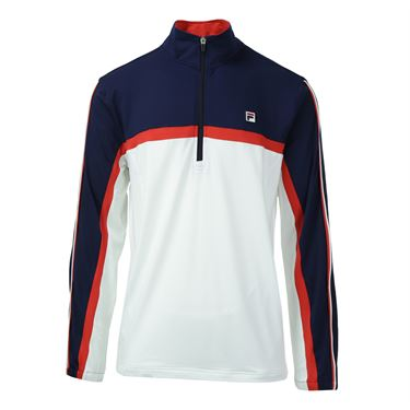 Fila Heritage 1/4 Zip Windbreaker - White/Clematis Blue/Chinese Red