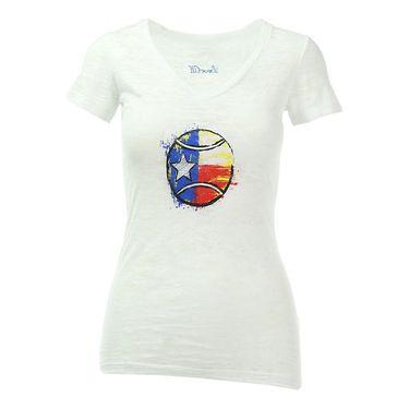 Love All V Neck Texas Tennis Ball Tee - White