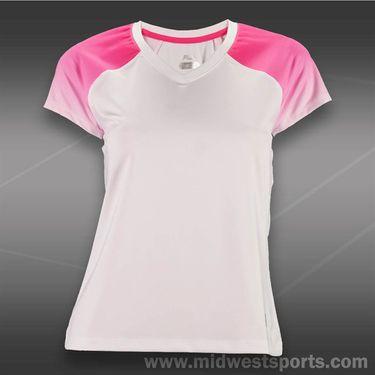Fila Baseline Cap Sleeve Top-White/Pink Glow