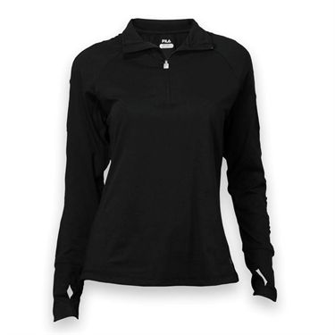 Fila 1/4 Zip Long Sleeve Top - Black