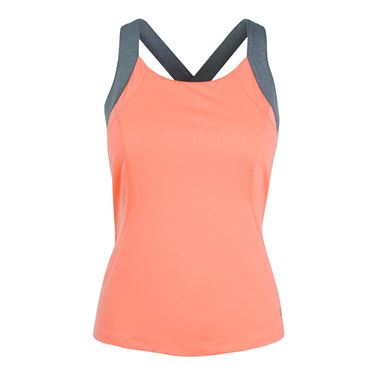 Fila Game Day Strappy Tank - Fiery Coral/Charcoal Heather