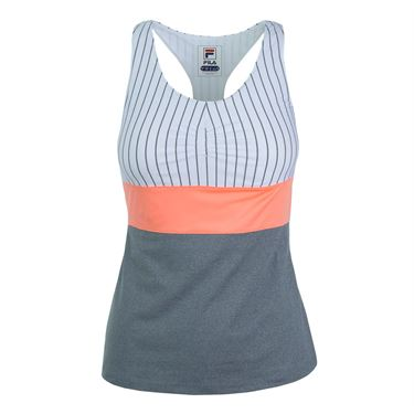 Fila Game Day Racerback Tank - White Pinstripe/Charcoal Heather/Fiery Coral