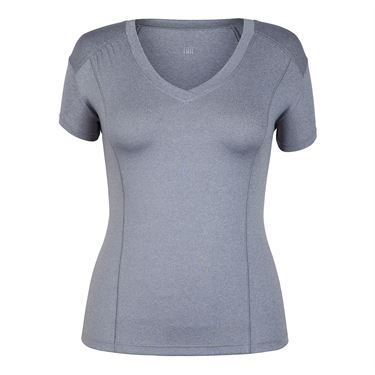 Tail Short Sleeve V Neck Top - Frosted Heather
