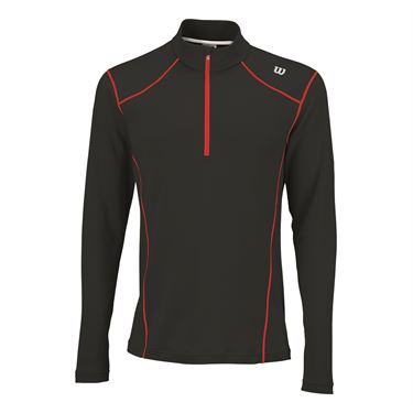 Wilson NVision Zip Neck Long Sleeve Shirt - Black/Wilson Red