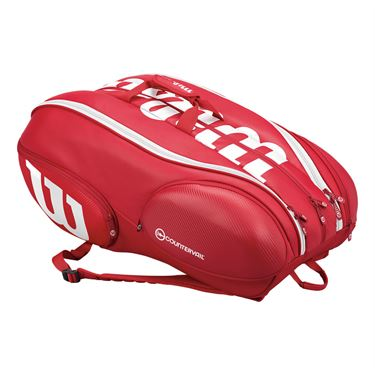 Wilson Pro Staff 15 Pack Tennis Bag - Red/White