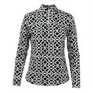Icikuls Long Sleeve Mock Top - Lattice Black