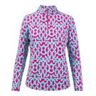 Ibkul Long Sleeve 1/4 Zip Mock Top - Pink/Turquoise