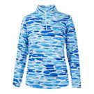 Ibkul Long Sleeve 1/4 Zip Mock Top - Deidre Blue