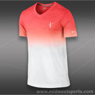 Nike RF V Neck T-Shirt-White/Lt.Crimson