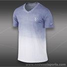 Nike RF V Neck T-Shirt-White/Iron Purple