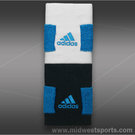 adidas Tennis Double Wide Wristband II-White/Solar Blue