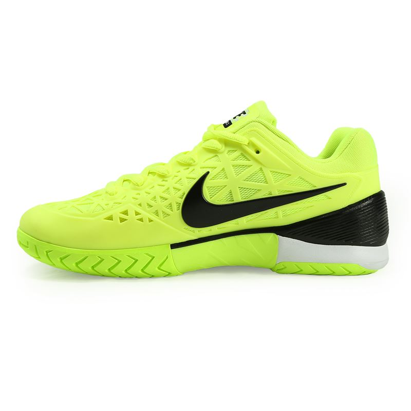 nike zoom cage 2 mens tennis shoe volt black white