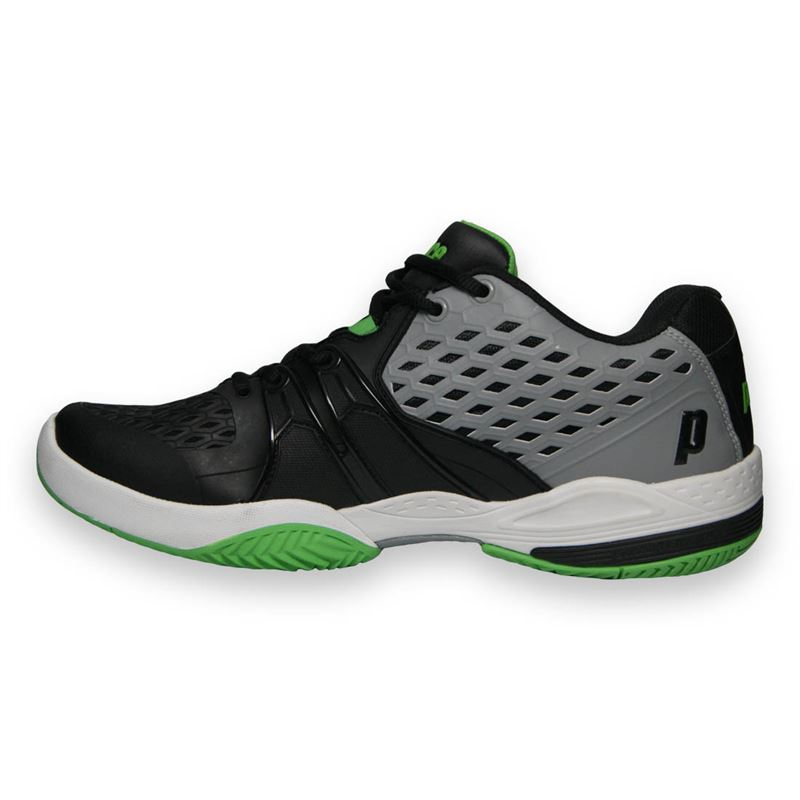 prince warrior s tennis shoe grey black green 8p431171