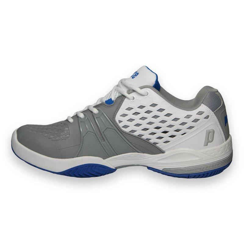 prince warrior s tennis shoe white grey blue 8p431193