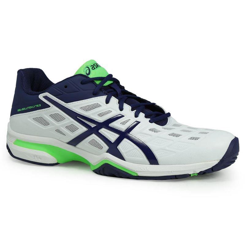 asics gel solution lyte 3 mens tennis shoe white blue