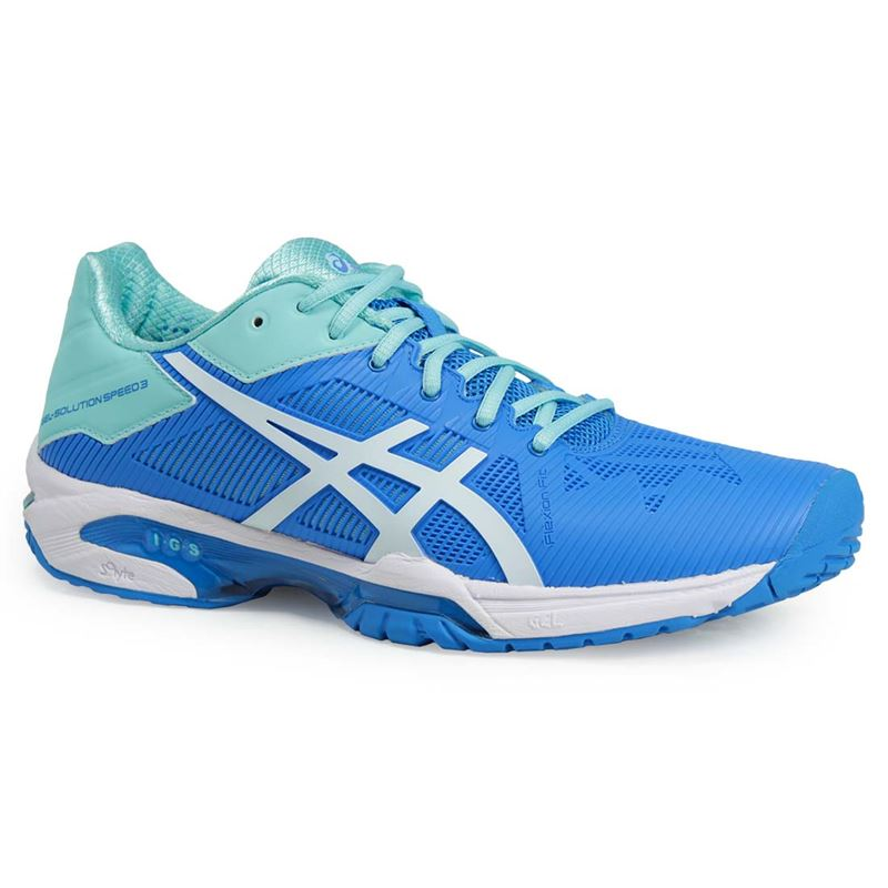 asics gel solution speed 3 womens tennis shoe aqua e650n